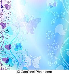 Gentle blue floral frame - Gentle blue spring floral frame...