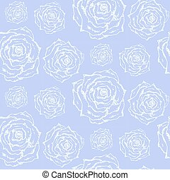 Gentle blue pattern with white outline roses
