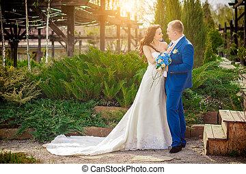 gentle bride and groom