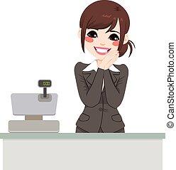 Beautiful gentle asian cashier woman ready to attend customer
