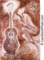 Gentle dreamy fairy poet crawing a guitar light, fantasy...