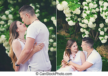 Gentle embraces of a loving couple