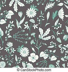 Gentle flower seamless pattern with hand-drawn medicinal herbs.