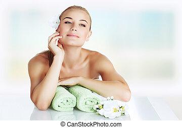 Gentle girl at spa salon