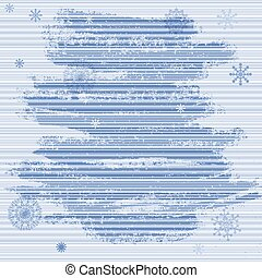 Gentle grunge Christmas frame with blue stripes and snowflakes