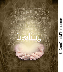 Gentle Healing Words - Female cupped hands with the word '...