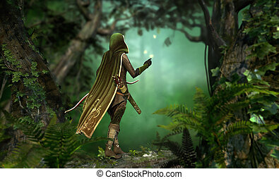 Gentle Hunter - a hunter in a hooded cape passes through the...