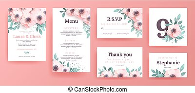Gentle invitations for a wedding with pink flowers