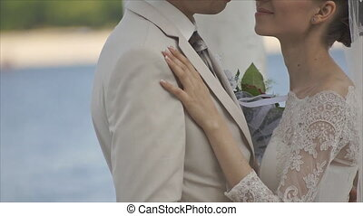 gentle kiss loving couple close up. handheld cam