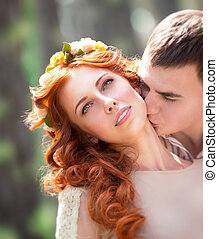 Gentle loving couple - Closeup portrait of beautiful gentle...