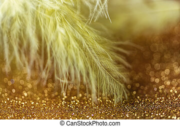 Gentle magical golden background with yellow feather. Macro photo