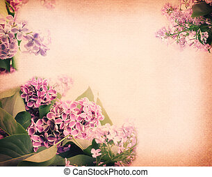 gentle mauve blurred spring background with a branch of...
