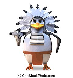 Gentle native American Indian penguin chief smoking his peace pipe and contemplating, 3d illustration render