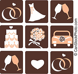 wedding icons - gentle nine wedding icons, vector ...