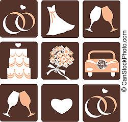 wedding icons - gentle nine wedding icons, vector ...