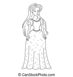 Gentle princess in shining dress, coloring book page