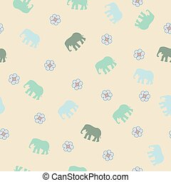 Gentle seamless pattern with elephant.