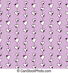 Gentle seamless pattern with hand-drawn hearts on the purple background.