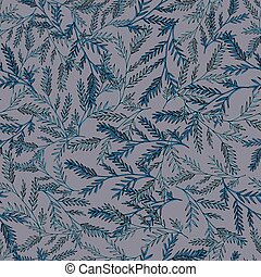 Gentle seamless pattern with hand-drawn herbs.