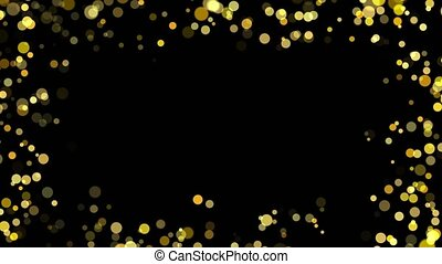 Gentle shimmering ice particles in 4K loop animation Background. Glitter gold heart frame with space. Heart with golden light. Valentines Day card. glowing heart. glittering star dust. Festive border.