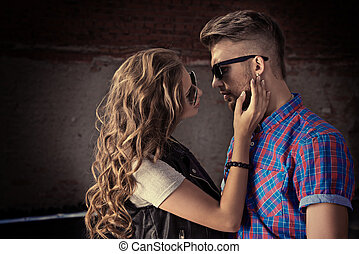 gentle touch - Romantic couple of young people in love...