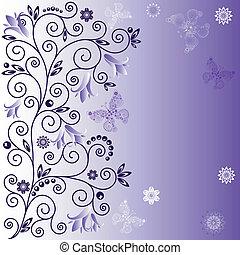 Gentle violet background - Gentle violet frame with curls, ...