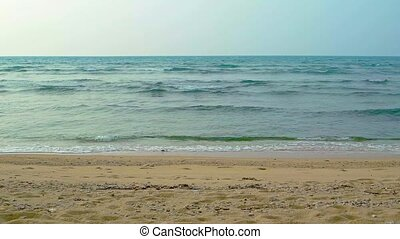 Gentle Waves of a Tropical Sea on a Sandy Beach