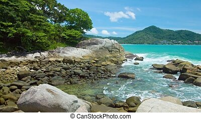 """Gentle Waves on the Rocks in Phuket Thailand, with Sound"""