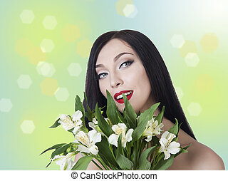 woman with a bouquet