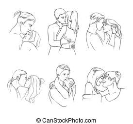 Gentle young couple in love hand drawn set. Relationships, embrace, hugs and kisses.