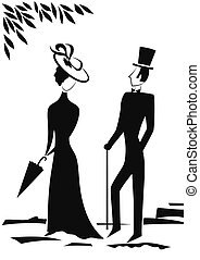 Gentleman and Lady silhouette - Gentleman and Lady in park,...