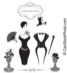 Gentleman and Lady symbols, vintage style, black and white silhouette.