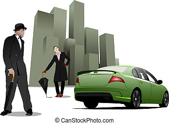 Gentleman and lady  with umbrella on the green city background. Vector illustration