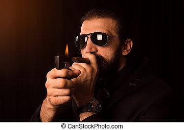 gentleman burning cigar
