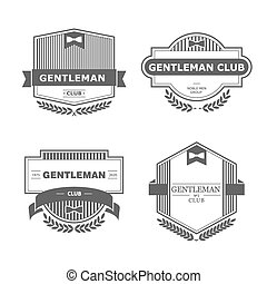 Gentleman club - Set of vector vintage gentlemen club design...