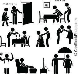 A set of human pictogram representing the process of a gentleman courting a woman.