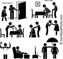 Gentleman Courteous Man Boyfriend - A set of human pictogram...