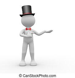 Gentleman  - 3d people - man, person with hat. Gentleman