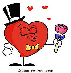 Gentleman Heart Holding Roses