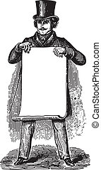 Gentleman holding blank paper - Ancient engraving of a man ...