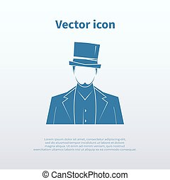 Gentleman icon isolated on background. Vector illustration.