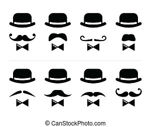 Vector icons set - man with bowler hat and mustache isolated on white