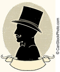 Gentleman in a a hat and mustache. Vector face black silhouette and scroll for text