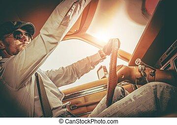 Gentleman in the Classic Car