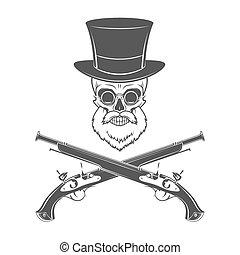 Gentleman of fortune skeleton with beard, glasses, top hat...
