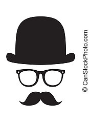 gentleman portrait - Vector face with a mustache and a...