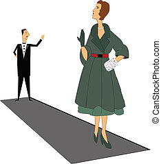 gentleman saying goodbye to refined lady in retro style
