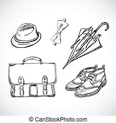 Gentleman Sketch Handdrawn Vector Set Isolated on White Background