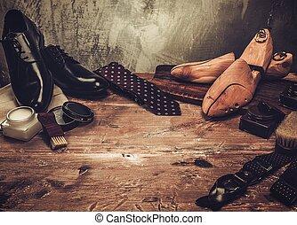 gentleman, sko, trä tabell, omsorg, tillbehör