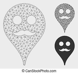 Gentleman Smiley Map Marker Vector Mesh Carcass Model and Triangle Mosaic Icon